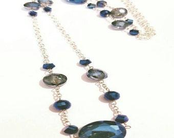 Aqua and Blue Glass Beaded Long Necklace