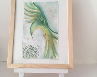 Abstract watercolor, original painting on paper, bird wall art illustration, Parrot green tropical style, exotic figure.