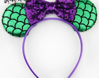 Mermaid Headband-mermaid ear sequin headband-Baby Headband-Toddler Headband- Hair Bows-Minnie mouse shabby headband-Minnie Hairbow-mermaid