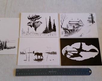 5 frameable artist silhouette design blank greeting cards & envelopes by lynn griffith 5x7 - art moose cabin trees wilderness alaska maine