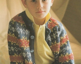 Childrens Fair Isle Cardigan PDF Knitting Pattern : Boys or Girls 26, 28 and 30 inch chest . Instant Digital Download