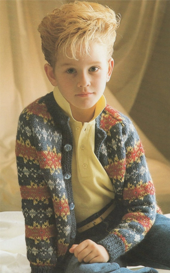 Childrens Fair Isle Cardigan PDF Knitting Pattern : Boys or Girls ...