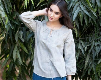 Khadi Long sleeve peasant blouse in yarn dyed olive dent