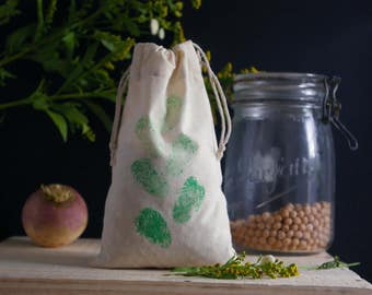 Bag (small) bulk Zero waste in organic cotton muslin - Brussels sprouts motif