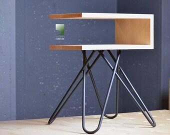 "the ""open sea crossleg"" modern nightstand, mid century modern nightstand, modern industrial end table, mid century inspired, unique"