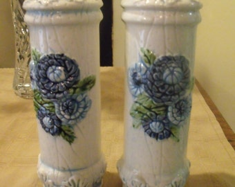 Lefton 6497 White Salt and Pepper Shakers with Bright Blue Flowers