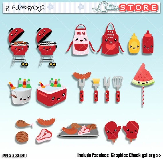 King Of The Grill Kit Backyard Barbecue Kawaii Clipart Set