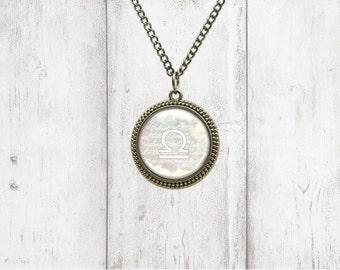 Astrology Pendant Necklace - Libra - Birthstone Necklace