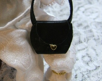 Black Leather Dollhouse Miniature Purse # 13