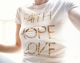Rose Gold Shirts Women Faith Hope Love Shirt for Women Christian Shirts Love Shirt for Women Christian TShirts Bible Verse Cute Shirts Women