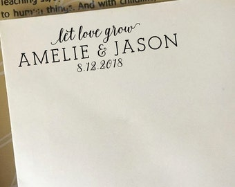 Let Love Grow Wedding Stamp, Custom Wedding Favors Stamp, Wooden Stamp, Couples Names and Wedding Date Stamp, Personalized Stamp