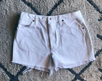 High Waisted White Cutoffs