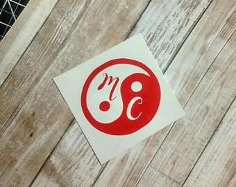 Yin Yang Decal/Yin Yang Sticker/ Yin Yang Monogram/ YETI Cup/Decal/ Vinyl Decal/Name Decal/Car Decal/ Name Sticker/ Chinese  Decal/HTV Decal