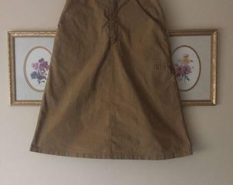 SALE // 1970s Beige Cotton A-Line Skirt 25W