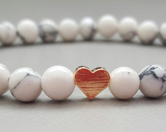 Howlite Gemstone Bracelet with 24k Gold Plated Heart~ Semi Precious, Healing Crystals, Healing Stones