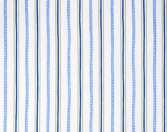 BTHY - Urban Chic by Tina Higgins for Quilting Treasures, Pattern #23656-W Tonal Blue and Tan Stripes on White, by HALF Yard