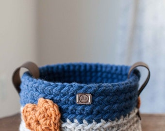 Ready to ship! Medium crocheted heart basket with leather handles // featured in Oatmeal & Denim
