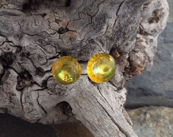 Dichroic Earrings- yellow glass studs with surgical steel posts and backs