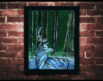 """Stag Patronus Painting PRINT 11x14"""", Forrest Scene, Deer Painting, Lakeside, Original Artwork, Blue and Green, Harry Potter, Watercolor"""