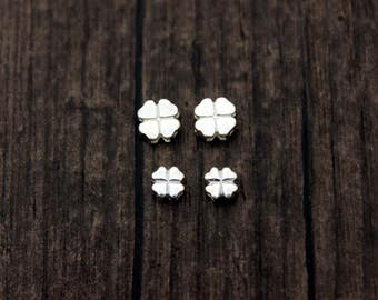 4pcs Sterling Silver Lucky Clover Beads,Sterling silver Four Leaf Clover bead, lucky bead, silver spacer bead