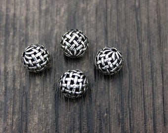 10mm Sterling Silver Beads,Sterling Silver spacer bead,Silver Hollow beads,Woven spacer beads,Silver beads spacer