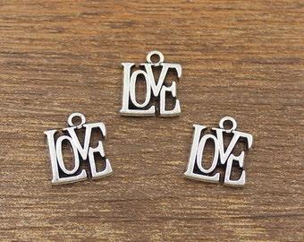 30pcs Love Charms Antique Silver Tone 13x14.5mm - SH359