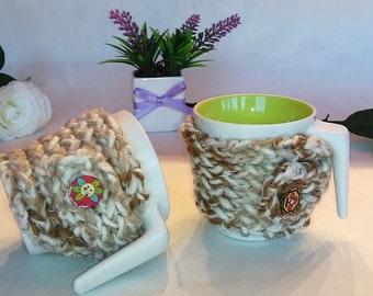 mug cozy, cup cozy, mug cozy, mug sweater, mug holder, mug cosy, coffee cozy, tazza cozies, Graceful beige color