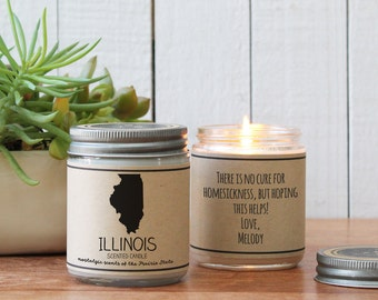 Illinois Scented Candle - Homesick Gift | Feeling Homesick | State Scented Candle | Moving Gift | College Student Gift | State Candles