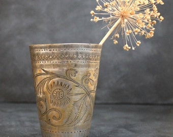 Vintage Indian brass Lassi cup or glass hand engraved with a floral design