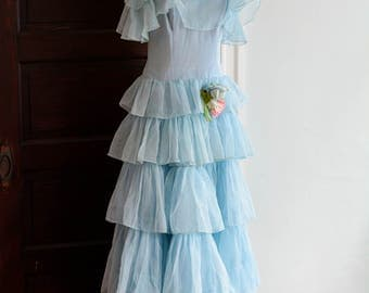 """1930's Layered Tulle Spring Party Dress/Waist 28"""""""