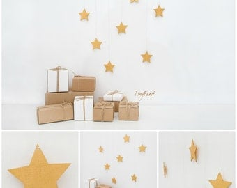 Gold star mobile Nursery decor Nursery mobile Kids wall decor Wall hanging mobile Holiday decor Christmas star decor Wooden mobile