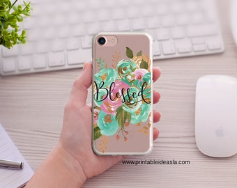 Mint and Gold floral Bible Verse Phone Case, Blessed Floral Clear iPhone Case, iPhone Case 5/5s/SE 6/6s 6splus/6plus7/7Plus