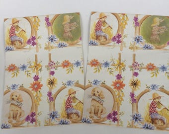 Summer Floral Wrapping Paper (2), Girl with Straw Hat, Boy with Straw Hat & Recorder, Golden Retriever with Newspaper, Crafting Supply
