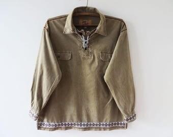 Corduroy Shirt Men Hippie Shirt Khaki Beige Shirt Long Sleeve Shirt Corduroy Festival Shirt Bohemian Shirt Tribal Chemise Large Size Shirt