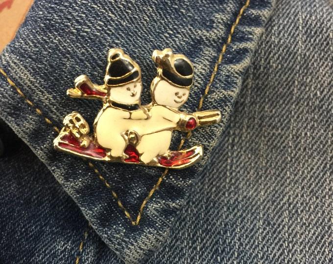 vintage snowman sled enamel lapel pin (stock# 358) holidays, christmas, winter, snow, ski, sleading, frosty, hat pin,