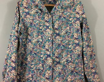 Vintage 1970s ALEXON SPORTSET blue purple floral top jacket shirt UK 14/16 pockets