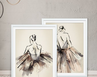Ballerina Gift, Ballet Gift, Ballerina Print, Ballet Print - Set of 2 Framed Prints by Green Lili. Digital Art. Wall Art. Gift. Interiors.