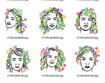 Lady-Portrait ( 10 Machine Embroidery Designs from ATW ) XYZ17B