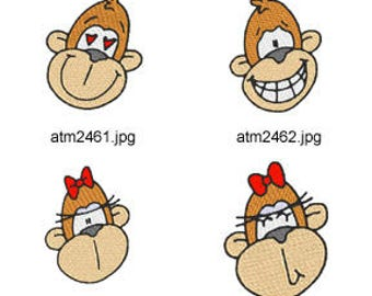 Monkey-Faces ( 8 Machine Embroidery Designs from ATW ) XYZ17D
