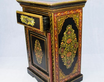 RARE Antique Folk Art, Oriental Hand Painted Lacquered Cabinet, Side Table, Black with Gold and Floral Decorations, c1900s