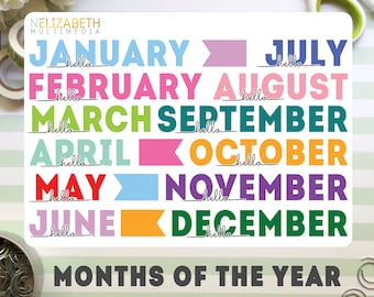 Months of the Year - Decorative Bullet Journal Stickers