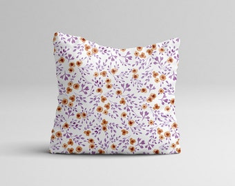 "Throw Pillow Case - Watercolor Throw Pillow Cover - Home Decor Cottage Decor ""Prairie Flowers"" Purple Watercolor Pillow Case 16x16 