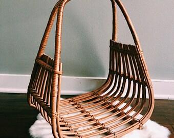 Vintage Cane + Rattan Magazine Holder / Hanging Plant Basket