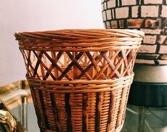 Vintage Rattan Plant Basket / Plant Holder