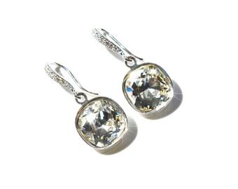 Rhodium, Yellow or Rose Gold -- Handmade Swarovski Crystal Clear Square Crystal Dangle Earrings, Bridal, Wedding (Sparkle-2579)