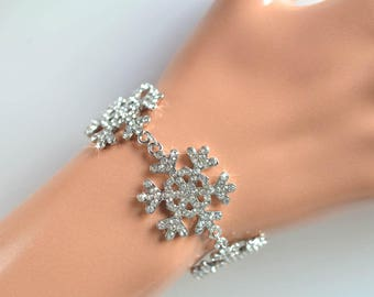 Handmade Crystal Rhinestone Snowflake Bridal Bracelet, Bridal, Wedding (Sparkle-2131)