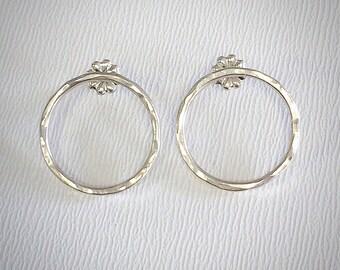 Texture Earrings - Sterling Silver - Circle Earrings - Modern Earrings - Hammered Earrings