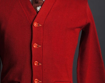 Vintage 1940s Red Wool Knit Button Cardigan