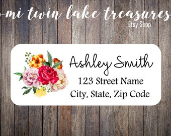Floral Return Labels / Adhesive Address Labels / Guest Invitation, Mailing Labels / Boho Personalized Stickers / Floral Watercolor Labels