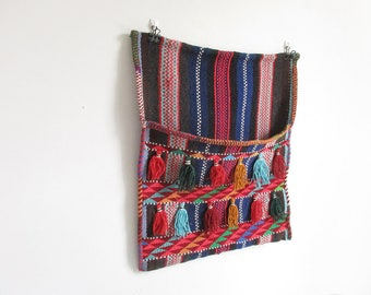 vintage woven wall hanging / moroccan wall tapestry / textile wall pocket